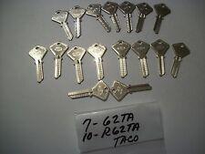 Locksmith LOT of 17 Key Blanks for TACO Locks, (7) 62TA & (10) R62TA, Uncut