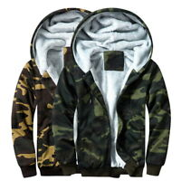 Winter Mens Camo Fleeces Jackets Casual Hooded Hoodie Warm Thick Sweatshirts