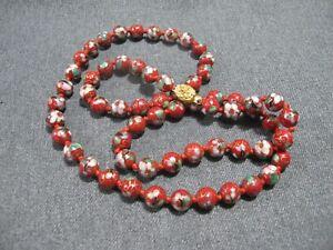 Vintage chinese filigree goldtone clasp flower leaves cloisonne enamel necklace