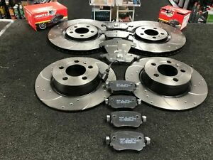 FOR AUDI A4 A5 PERFORMANCE FRONT REAR DRILLED GROOVED BRAKE DISCS AND BRAKE PADS