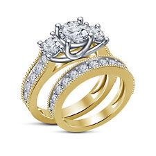 Solid Yellow Gold Plated 925 Silver Rd Sim.Diamond Girls/Ladies Bridal Ring Set