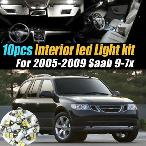 10Pc Super White Car Interior LED Light Bulb Kit for 2005-2009 Saab 9-7x