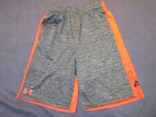 Boys UNDER ARMOUR Athletic/Basketball SHORTS - Youth Large - Gray w/ Red Trim