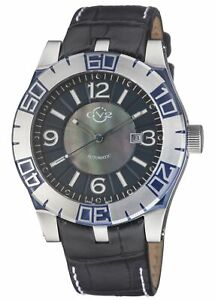 GV2 by Gevril Men's 8004 La Luna Automatic Black Leather Date Wristwatch