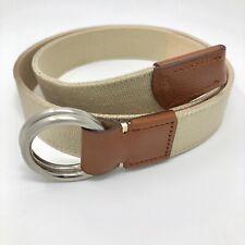 PETER MILLAR Mens Mountainside Canvas & Leather O-RING Belt Acorn Tan Sz 32 $145