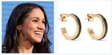 New Isabel Marant Enameled Gold-Tone Hoop Navy Earrings Aso Royal Celebrity