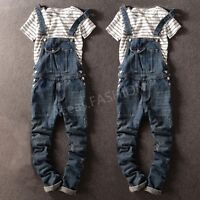 Fashion Men's Denim Straight Pants Suspender Trousers Overalls Slim Skinny Jeans