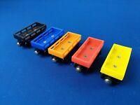 5pc set of CARGO CARS : Red, Yellow, Black, Orange, Blue / Thomas Wooden trains