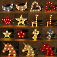 Cute Unicorn Star Moon LED Night Light Wall Lamp Baby Kids Bedroom Home Decor