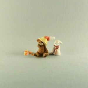 OOAK~Brown Bear~Candy-corn~Hat~Mini~Artist Doll~Baby Toy~Dollhouse~Cheryl Brown