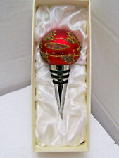 RED Christmas Bulb ORNAMENT DECORATIVE WINE BOTTLE STOPPER NOS in ORIGINAL BOX