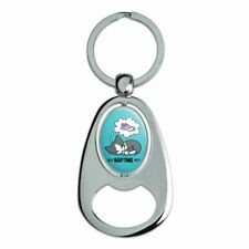 Is It Cat Naptime Yet? Dreaming Spinning Oval Bottle Opener Keychain