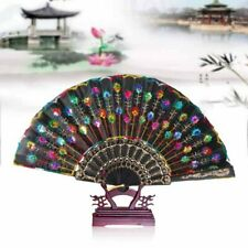 Vintage Chinese Dance Wedding Party Lace Folding Hand Held Peacock Fan Us Stock