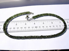 130 carats of checkered cut beads 6mm x 3mm MOLDAVITE necklace 18 inches