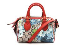 Gucci Mini Blooms Red Blue Flower Print GG Supreme Logo Satchel Shoulder Bag