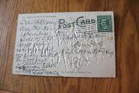 1909 Hook & Ladder Firetruck Firemen with 1 Cent Benjamin Franklin Green Stamp