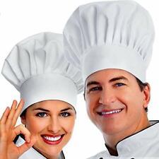 White Chef Hat 2Pcs Premium Adjustable Elastic Baker Cap Kitchen Cooking Unisex