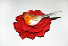 Bird Robin Feather Hair Clip Flower Pin Sequin Accessory Unusual Xmas Gift