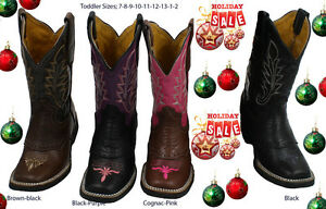 Kids Toddler/Children Sizes  Genuine Leather Cowboy Boots Square Toe