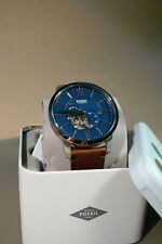 fossil mens gents wrist watch stainless steel automatic blue dial me3110
