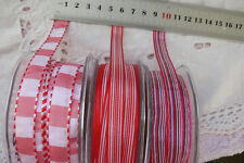 RED & WHITE Polyester 10mm Wide - 2, 3 & 5 Metres - 3 Design Style Choice