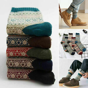 5 Pairs Men's Nordic Thermal Socks Winter Warm Thick Walking Hike Chuncky Sock
