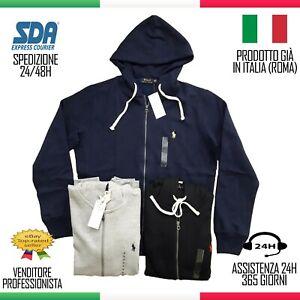 FELPA ZIP Polo Ralph Lauren Uomo Cotone  Polo Maglietta Maglione Saldi estate