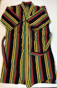 Vintage Bill Blass Mens Terry Cloth Robe Size XL Rasta Plush Cotton Bathrobe