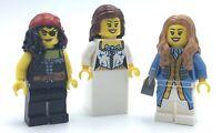 LEGO LOT OF 3 FEMALE PIRATE QUEEN MINIFIGURE LADIES