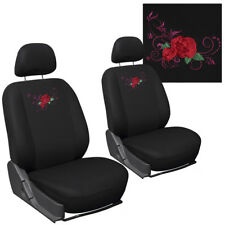 Car Seat Covers for Toyota Corolla Red Rose Flower Bucket Detachable Head Rests