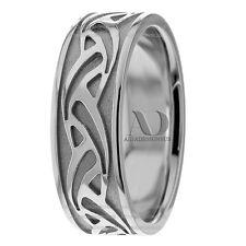 7.5mm Wide Men's Celtic Waves Wedding Ring Pure 14K White Gold Wedding Band