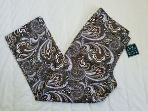 1 NWT MELLY M WOMEN'S PANTS, SIZE: 10, COLOR: BROWN/WHITE PAISLEY (J117)