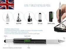 Black Multi Tool Tech Ballpoint Pen 6 in 1 Spirit Level, Screwdriver, Ruler BNIB