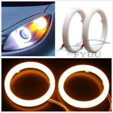 2 X 60mm White&Amber Switchback LED Angel Eyes Halo Rings For Headlight Retrofit