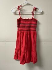 Topshop Womens A Line Dress Red Smocked Square Neck Tie Spaghetti Strap 6 New