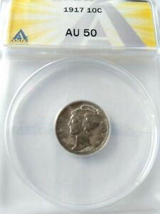 1917 Mercury dime circulated certified by ANACS