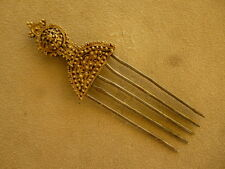 ANTIQUE AFRICAN TRIBAL ART JEWELRY HAIR PIN ORNAMENT GOLD SILVER COMB ETHIOPIA
