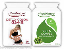 90 Green Coffee Bean Extract 15000mg Daily + 60 Detox Colon Cleanse Diet Pills