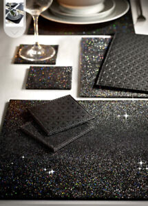 Next 4 Black Reversible Glitter Placemats And 4 Coasters Set Faux Leather Geo