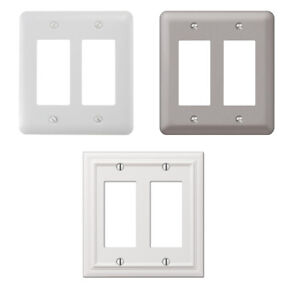 Double 2 Rocker Gang Outlet Switch Wall Plate Cover Decorative Nickel Steel Lot
