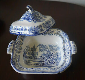 Antique Blue & White Willow ? Tureen with Lid