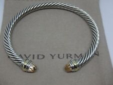 David Yurman Silver Morganite & 14k Gold 5mm Cable Cuff Bracelet Size med