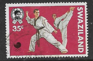 SWAZILAND POSTAGE USED STAMP 1988 COMMEMORATIVE OLYMPIC GAMES SEOUL, TAE KWON DO
