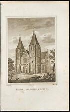 1829 - Gravure Eglise collégiale d'Ecouis