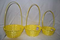 Lot 3 YELLOW Plastic BASKETS Basket Party STACK Centerpiece Wedding EGGS Flowers