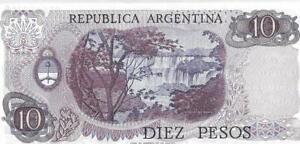 Argentina 10 Pesos 🌎 P-300 ⚡ SIGNATURE VARIETY 1 ⚡🌊 UNC; 1976 🌊 Waterfalls