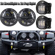 7'' H4 H/L 40W LED Headlight For Jeep Wrangler JK CREE LED Fog Light Black Round