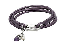 Unique & Co Ladies Purple Leather Wrap Around Bracelet with Pearl and Amethyst