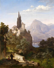 Huge Oil painting nice ladnscape Classical landscape medieval Europe canvas