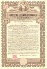 1919 United Refractories bond > Pennsylvania U S Senator William Crow autograph